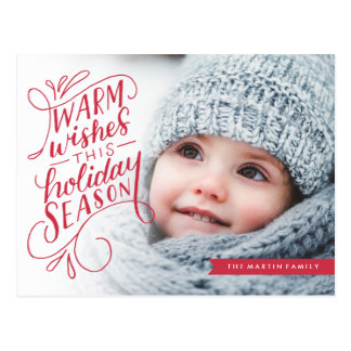 Warm Wishes Lettered Banner Holiday Photo Postcard