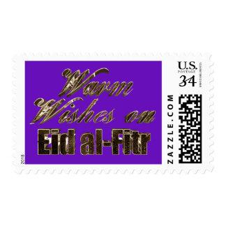 Warm Wishes on Eid al-Fitr Purple Gold Typography Postage