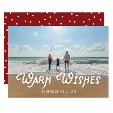 Beach Themed Warm Wishes Retro Type Simple Holiday Beach Photo Card