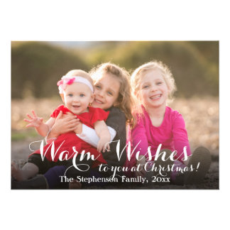 Warm Wishes Script Christmas Photo Card
