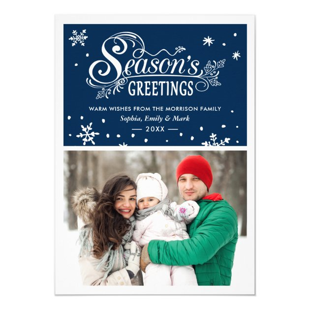 Warm Wishes Season's Greetings Typography Photo Card (back side)