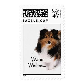 Warm Wishes Sheltie Stamp