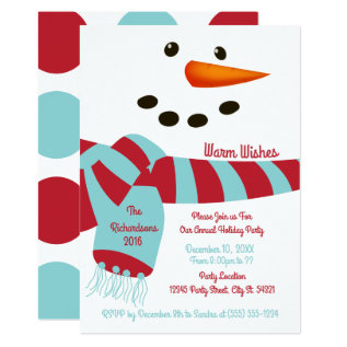 Warm Wishes, Snowman Holiday Party Invitations at Zazzle