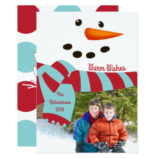 Warm Wishes, Snowman Photo Card