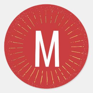Warm Wishes Sunburst Monogram Classic Round Sticker