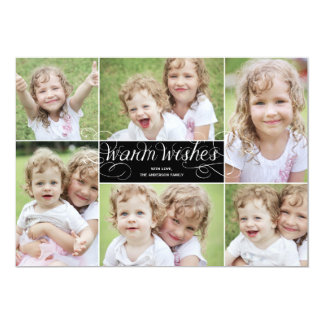 Warm Wishes Swirl Holiday Photo Card - Black
