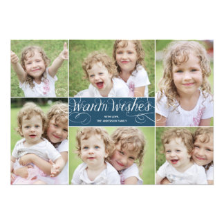 Warm Wishes Swirl Holiday Photo Card - Navy