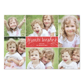 "Warm Wishes Swirl Holiday Photo Card - Red 5"" X 7"" Invitation Card"