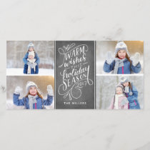 Warm Wishes This Holiday Hand Lettered 4-Photo