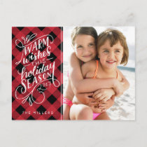 Warm Wishes This Holiday Hand Lettered Plaid
