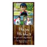 Warm Wishes Vintage Country 3 Christmas Photo Greeting Card