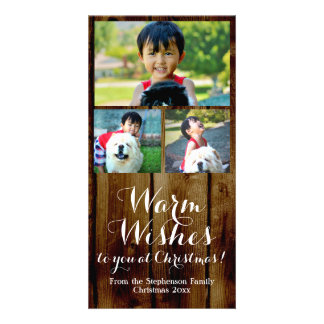 Warm Wishes Vintage Country 3 Christmas Photo Card