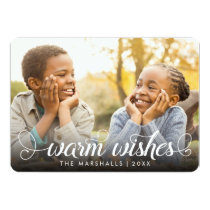 Warm Wishes White Calligraphy | Holiday Photo Card