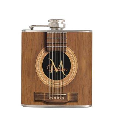 Warm Wood Acoustic Guitar Hip Flask