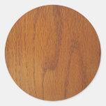 Warm Wood Grain Texture Round Sticker