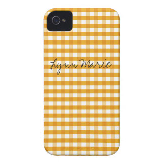 Warm Yellow Gingham Customizable iPhone 4 Case-Mate Case