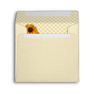Warm Yellow Sunflower and Hearts Lined Envelope