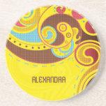 Warm &Yellow Tones Abstract Swirls-Monogram Drink Coaster