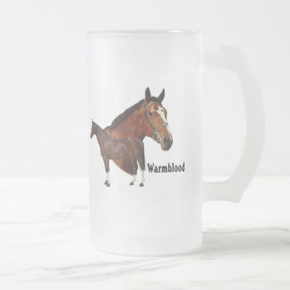 Warmblood horse frosted glass beer mug