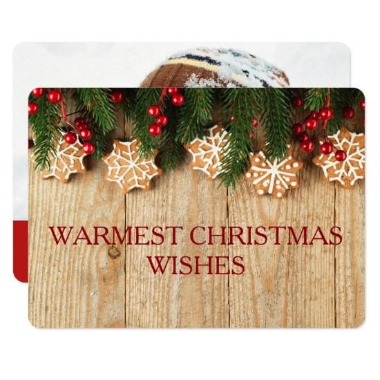 Warmest Christmas Wishes Card 2-sided Photo Card