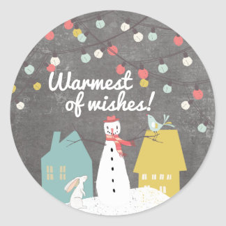 Warmest of Wishes | Cute Vintage Christmas Holiday Classic Round Sticker