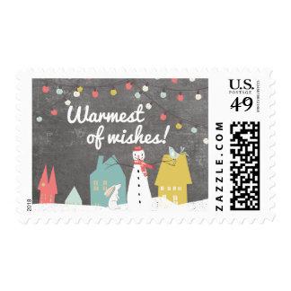 Warmest of Wishes Modern Vintage Christmas Postage