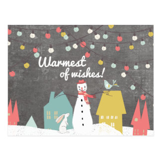 Warmest of Wishes Vintage Style Christmas Postcard