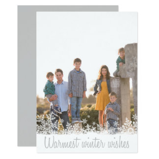 Warmest Winter Wishes Family Photo Christmas Card