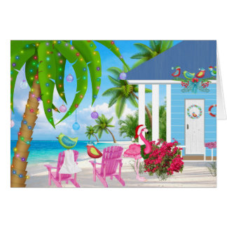Warmest Wishes Birds and Beach House Christmas Card