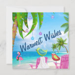 """Warmest Wishes, Birds, Palm Trees, Beach Christmas Holiday Card<br><div class=""""desc"""">This topical Christmas holiday greeting card features two colorful birds and a pink flamingo,  with a Santa hat,  enjoying the beautiful beach under a palm tree decorated with lights and ornaments.   Some graphics by artwork&@delightful-doodles.com and slslines.etsy.com *</div>"""