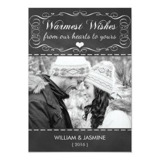 Warmest Wishes Chalkboard Christmas Flat Card
