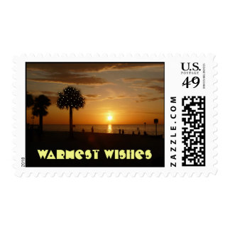 Warmest Wishes, Christmas lights Postage Stamps