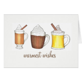Warmest Wishes Hot Cocoa Rum Eggnog Winter Holiday Card