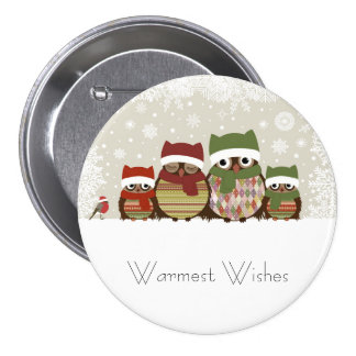 Warmest Wishes Owl Family Button