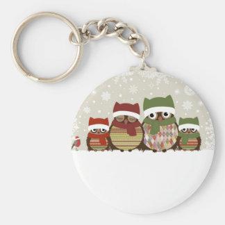 Warmest Wishes Owl Family Button Keychain
