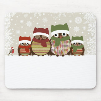 Warmest Wishes Owl Family Mouse Pads