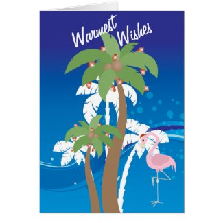 Warmest Wishes Palm Trees Beach Christmas Holiday Greeting Card