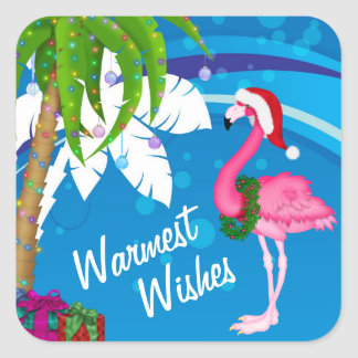 Warmest Wishes Palm Trees Flamingo Beach Christmas Square Sticker