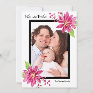 Warmest Wishes Poinsettia Holiday Photo Card