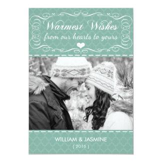 Warmest Wishes Quatrefoil Teal Christmas Flat Card