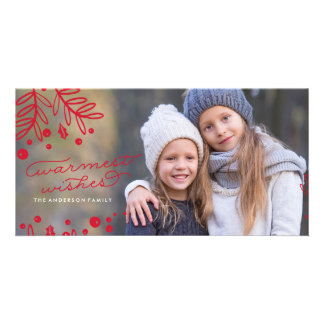 WARMEST WISHES Red Christmas Photo Card