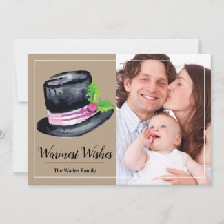 Warmest Wishes Top Hat and Holly Photo Card