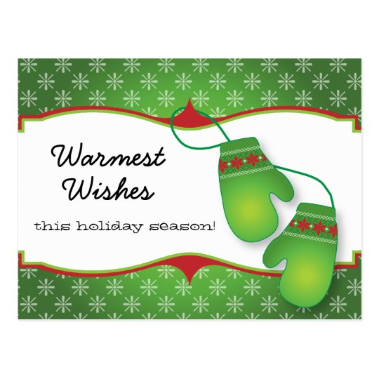Warmest Wishes with Mitten Christmas Postcard