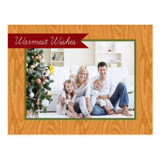 Warmest Wishes Wooden Frame Holiday Postcard