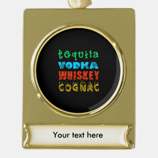 Warming Drinks Gold Plated Banner Ornament