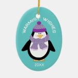 Warmist Wishes Christmas Penguin in Blue Christmas Ornament