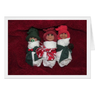 Warmth, Peace Christmas: Clay Babies, Polymer Clay Card