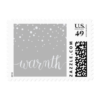 Warmth Script Lettering with Snow Falling Postage