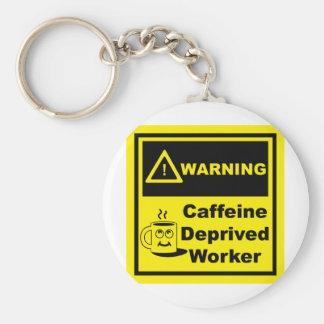 Warning 02 basic round button keychain