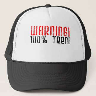 Warning 100% Teen Trucker Hat
